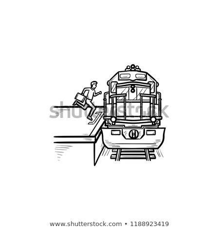 villamos · kézzel · rajzolt · skicc · firka · ikon · tömegközlekedés - stock fotó © rastudio