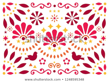 Mexican traditional folk art vector geometric pattern with flowers and birds, orange and red greetin Stock photo © RedKoala