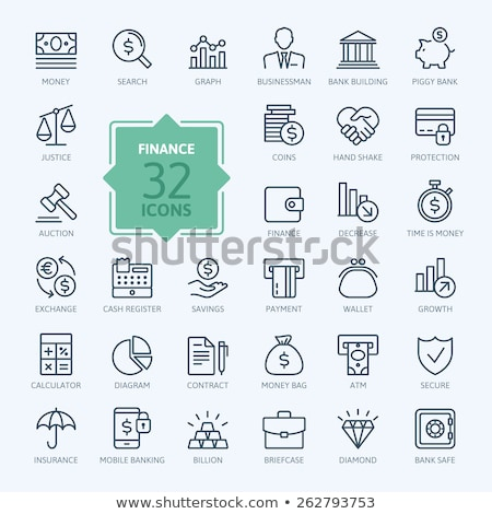 Bags with Money Thin Line Vector Icons Set Stock photo © smoki