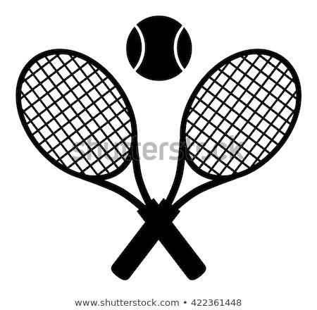 Crossed Racket And Tennis Ball Black Silhouette Stock photo © hittoon