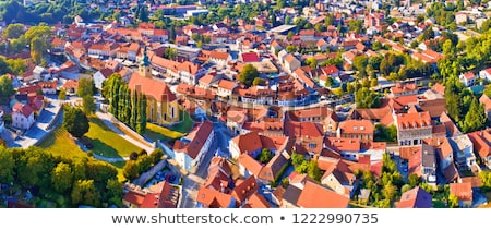 Samobor cityscape and surrounding hills aerial panoramic view Stock photo © xbrchx