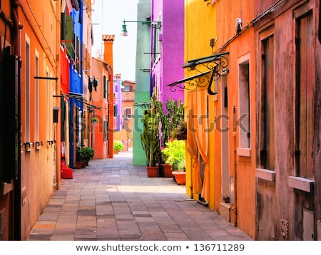Colorful street on Burano Stock photo © Givaga