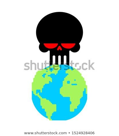 Föld halál koponya bolygó befejezés világ Stock fotó © MaryValery