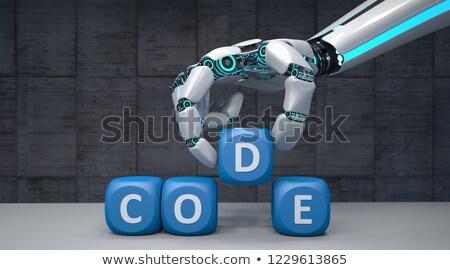humanoid robot arm cubes code stock photo © limbi007