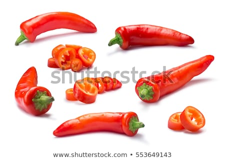 Foto stock: Set Of Whole And Chopped Hot Wax Or Paprika Pepper Paths