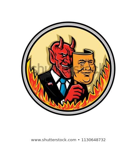 demon holding mask with flames mascot stock photo © patrimonio