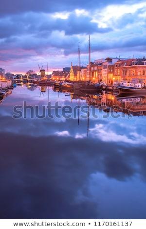 Países Bajos histórico puentes barcos edad ciudad Foto stock © neirfy