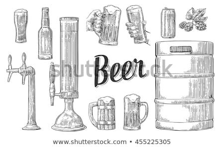 Beer Barrel and Glass Vintage Hand Drawn Poster Stock photo © robuart