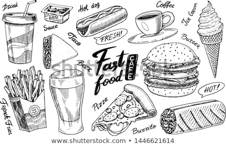 Taco Burrito Monochrome Sketch Vector Illustration Stock photo © robuart