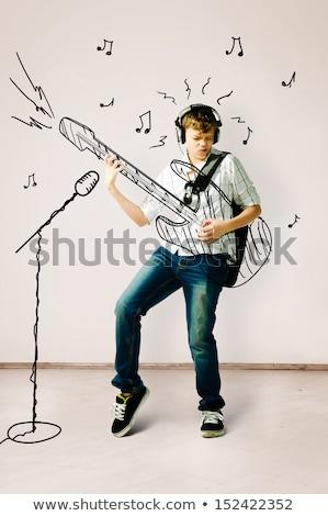 guitarra · preto · homem · rocha - foto stock © boggy