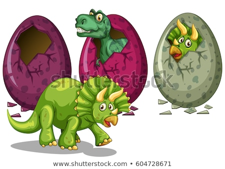 Three types of dinosaurs hatching eggs Stock photo © colematt