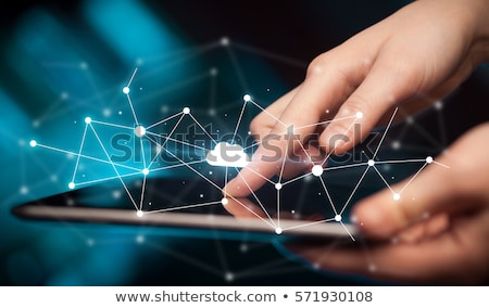 business woman using tablet with cloud technology concept stock photo © ra2studio