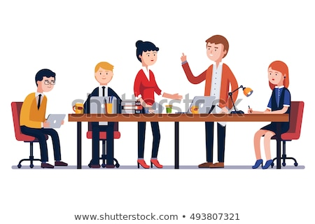 business meeting people sitting at table vector stock photo © robuart