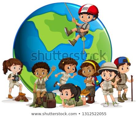 Multicultural escoteiro globo ilustração menina cara Foto stock © bluering