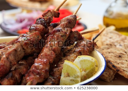 Traditional greek meat skewers souvlaki Stock photo © furmanphoto