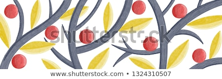 Vector creative long background with abstract leaves, fruits, branches. Illustration is stylized as  Stock photo © user_10144511