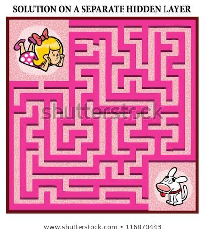 Labirinto gioco cartoon ragazza cane illustrazione Foto d'archivio © izakowski