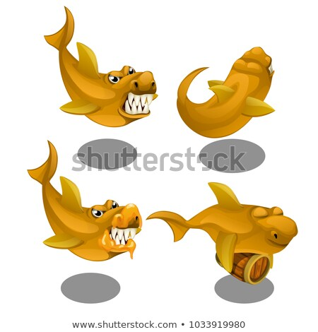Funny toothy fish with a wooden barrel isolated on white background. Vector cartoon close-up illustr Stock photo © Lady-Luck