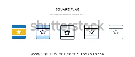 Banner with two square flags of France and spain Stock photo © MikhailMishchenko