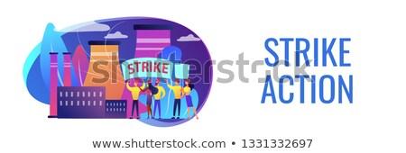 Strajk działania banner malutki ludzi Zdjęcia stock © RAStudio