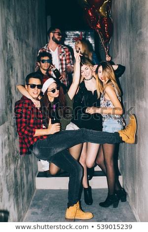 Christmas strony szczęśliwych ludzi taniec wektora Zdjęcia stock © robuart