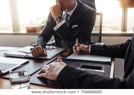 Dois advogados trabalhando escritório lei martelo Foto stock © Elnur