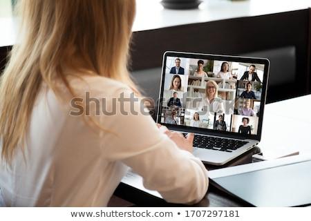 On-line negócio trabalhadores de escritório laptops pc vetor Foto stock © robuart