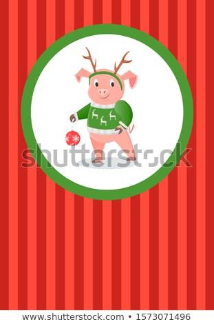 Gelukkig nieuwjaar briefkaart varken Rood gestreept poster Stockfoto © robuart