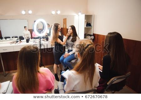 Smink tanár diák lány smink tutorial Stock fotó © dashapetrenko
