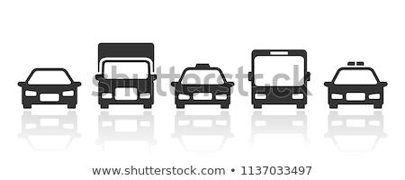 Taksówką ikona front widoku czarno białe samochodu Zdjęcia stock © angelp