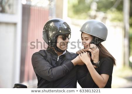 портрет довольно верховая езда мотоцикле вместе Сток-фото © deandrobot
