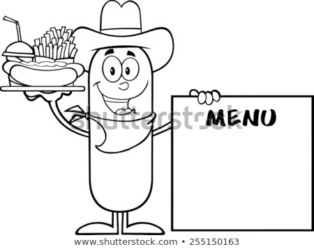 Black And White Cowboy  Sausage Carrying A Hot Dog, French Fries And Cola Next To Menu Board Stock photo © hittoon