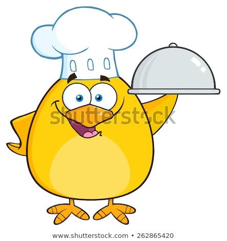 смешные повар желтый куриного изолированный Сток-фото © hittoon