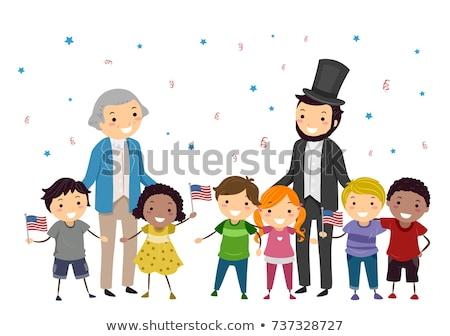 Gyerekek Washington illusztráció ünnepel nap gyerekek Stock fotó © lenm