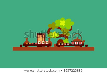 Restaurant Table with Served Japanese Food Bonsai Stock photo © robuart