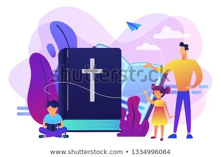 Religieuze zomerkamp kinderen studeren christendom leraar Stockfoto © RAStudio