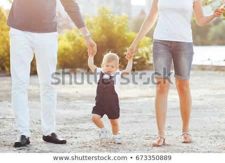 Anya apa lánygyermek promenád első lépcső Stock fotó © Lopolo