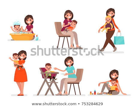 Anne oynama bebek mutlu annelik vektör Stok fotoğraf © robuart
