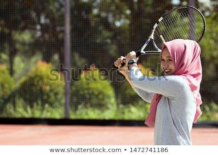 Fiatal teniszező pózol tenisz jóképű teniszütő Stock fotó © nyul