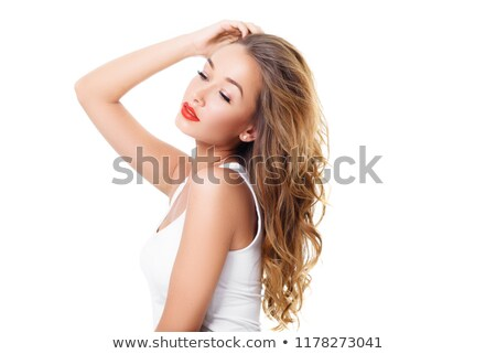 Woman applying lipstick. Model painted red lips. Beauty face with perfect fresh skin Stock photo © serdechny