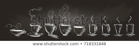 Warme drank ingericht doodle illustraties koffie Stockfoto © ra2studio
