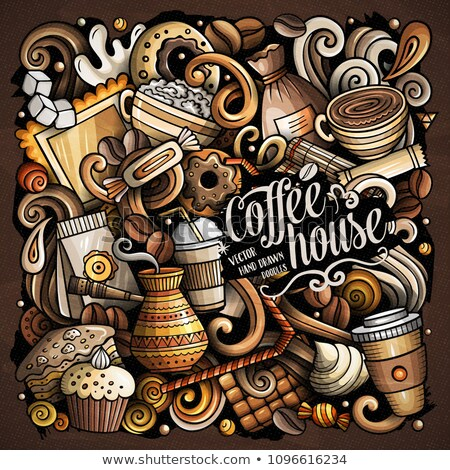 Cartoon doodles Coffee House illustration. Bright colors Cafe funny picture Stock photo © balabolka