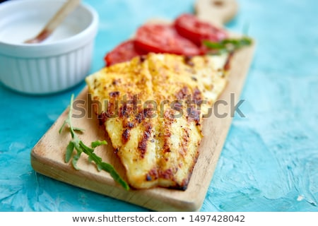 grelhado · filé · tomates · azul · frutos · do · mar - foto stock © illia
