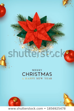christmas new year 3d gold ornament wreath card stock photo © cienpies