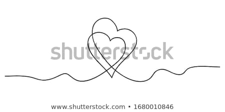 Hearts. Continuous line art drawing. Friendship concept. Best friend forever. Black and white vector Stock photo © ESSL