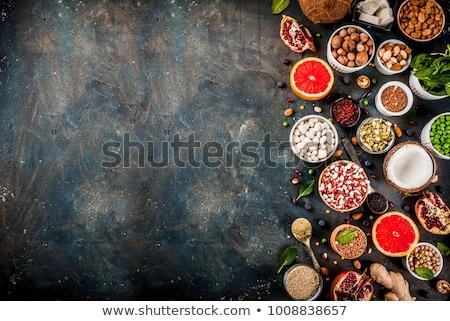 proteína · dieta · ricos · huevos · espinacas - foto stock © illia