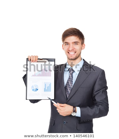 young businessman holding clipboard with financial paper and pointing at chart stock photo © pressmaster