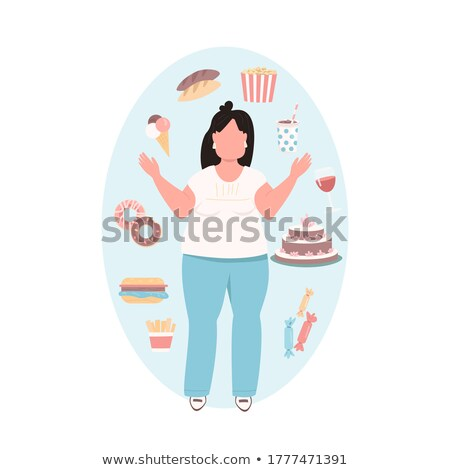 Girl Food Cravings Illustration Stock photo © lenm