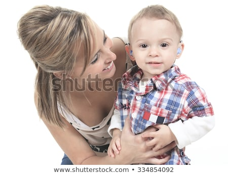 Mother with son. The kid have a Hearing Aids. Stock photo © Lopolo
