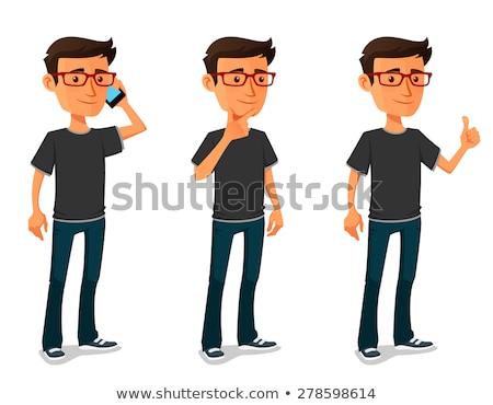 funny nerd geek boy cartoon character  Stock photo © zkruger